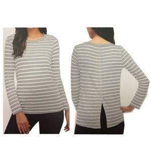 SPLENDID Gray Cerine Slub Stripe Button-Back Top